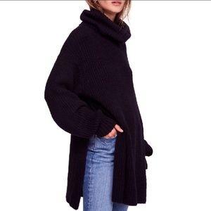 NWT Free People Eleven Black Sweater Tunic Large